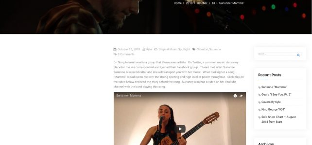 My blog feature in the website of musician Kyle Walz